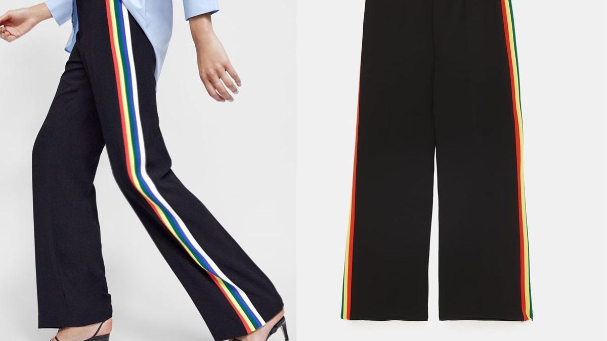 Szerokie spodnie z kolorowymi lampasami z Zary