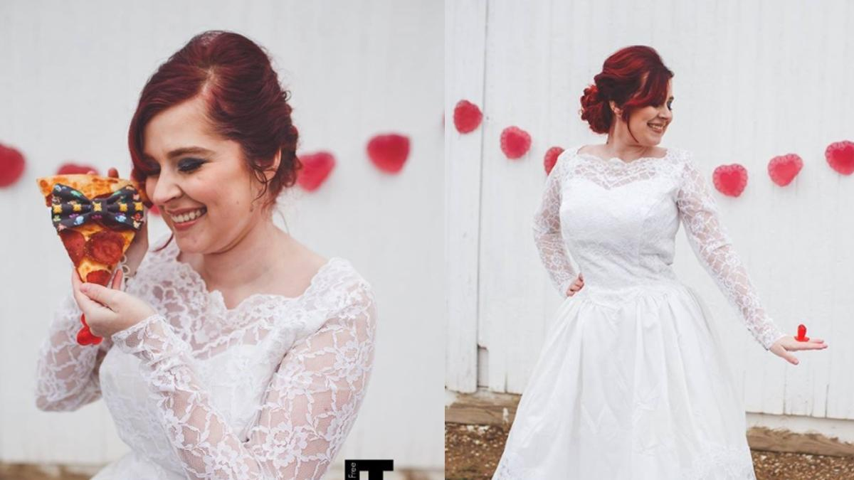 Wzięła ślub z... pizzą! Ich wspólna sesja ślubna robi furorę!