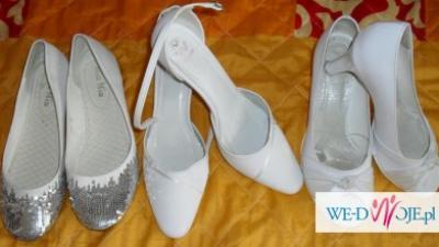 3 pary białych butów ślubnych; r.38