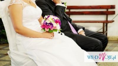 42-44  suknia ślubna z rękawkami