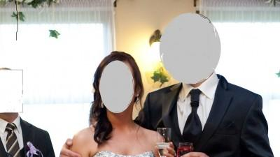Agnes suknia ślubna z czarnymi wstawkami