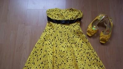 Bardzo ładna, elegancka, modna (model 2008) sukienka wieczorowa + czółenka