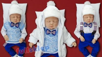 Bawełniane ubranko dla chłopca na roczek w kolorze chabrowym