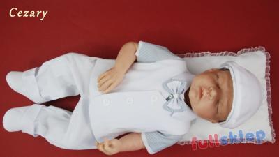 Bawełniane ubranko na chrzest z białą kamizelką