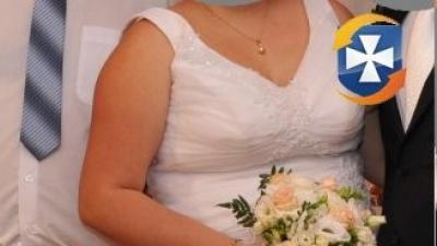 Biała suknia ślubna r. 48/52 (wiązanie z tyłu)