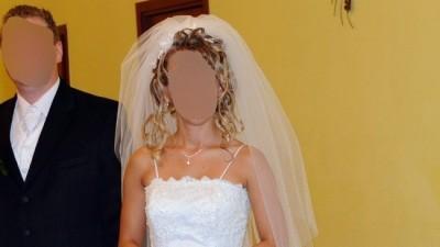 Biała suknia ślubna w stylu francuskim+dodatki  - bardzo dobry stan