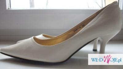 Białe buty na szpilce. Buty ślubne 39 rozmiar