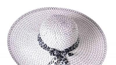 Biało czarny kapelusz ze wstążką