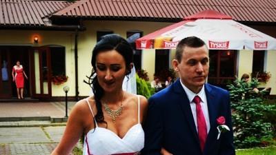 Biało-różowa suknia ślubna z cyrkoniami +gratisy