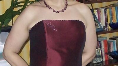 bordowa suknia slubna/balowa rozm. 42/44 c. 300 zl.