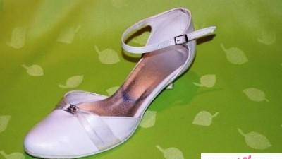 Buty ślubne - białe - 3 cm - stabilny obcas
