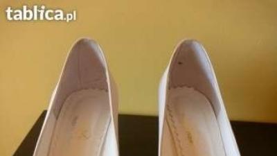 Buty ślubne białe, atłasowy dodatek,  r.39