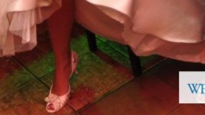 buty ślubne open toe srebrno białe