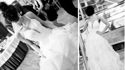 Cudna suknia - biała, z falbanami, w stylu hiszpanskim