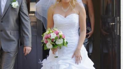 Cudna suknia ślubna śnieżnobiała rozmiar 38 / 165cm