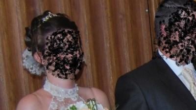 cudowna suknia ślubna ecri ze złotymi dodatkami