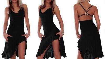 Czarna sukienka z kołem na plecach