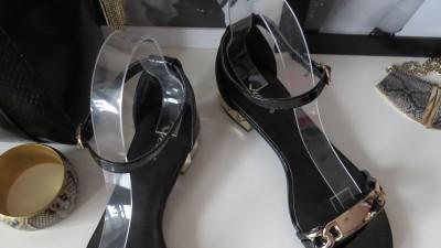 czarno złote sandały lakierek 38