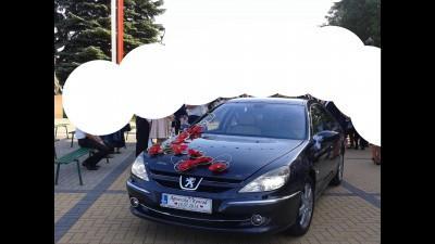 Dekoracja na samochód - czerwone magnolie - ślub