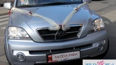 Dekoracja ślubna samochodu ecru+bordo