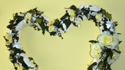 Dekoracja ślubna - serce 65x65 cm