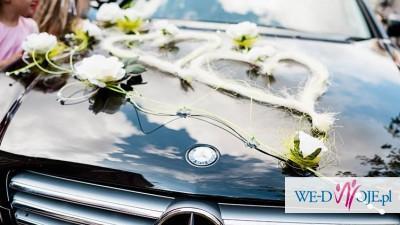 Dekoracja stroik na samochód auto do ślubu zestaw