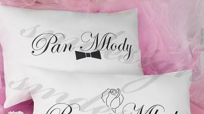 """Dekoracyjne poduszki """"Panna Młoda"""", """"Pan Młody"""""""