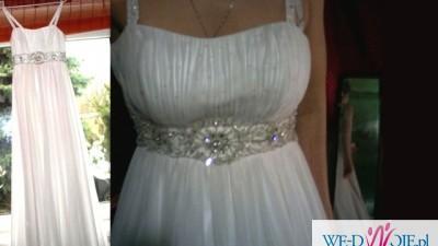 Delikatna suknia slubna w stylu greckim również dla pań w ciąży