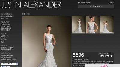 Ekskluzywna suknia ślubna, projekt Justin Alexander (USA), model 8596, KORONKA