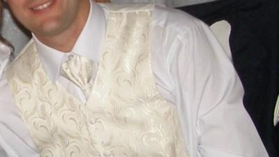 Elegancka kamizelka ślubna z musznikiem