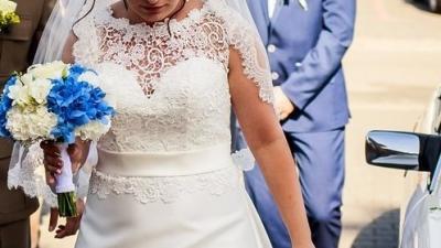 Elegancka suknia ślubna MARGARETT model EVIVA z trenem + welon