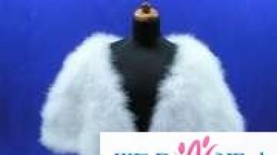 Etola ślubna, biała z sztucznego futra lisa