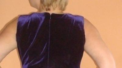 fioletowa długa elegancka M/L