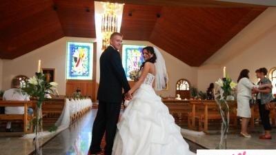 FLORENCJA suknia ślubna BIALA + tren + krysztalki swarowski