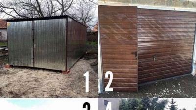 Garaże blaszane 3x5 ocynk , Garaże drewnopodobne z profila