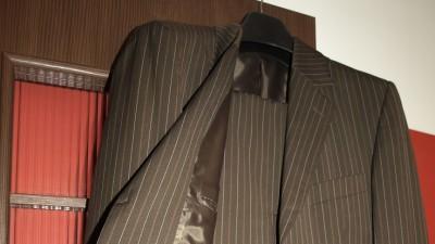 Garnitur ślubny New Men brązowy prążek- bądź inny