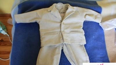 Garniturek do chrztu ze sztruksu + koszulka, muszka i beret