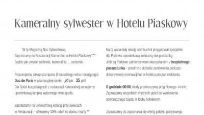 Kameralny Pobyt Sylwestrowy w Hotelu Piaskowy***