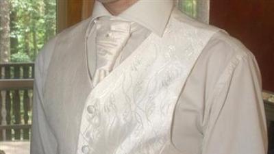 kamizelka jasne Ecru + krawat+butonierka