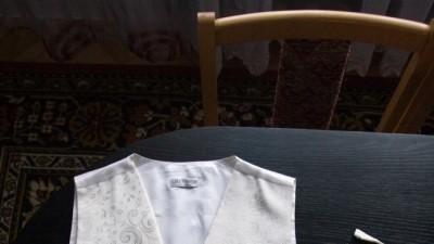 Kamizelka ślubna z musznikiem - śmietankowa, jasne ecrue