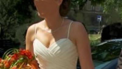 klasyczna długa suknia ślubna ecru