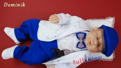 Komplet na chrzest dla chłopca z białą marynarką