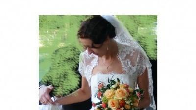 Koronkowa suknia ślubna ecru z salonu Agora