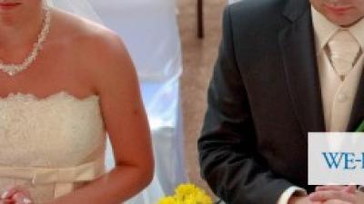 Koronkowa suknia ślubna + zestaw męski (kamizelka, musznik, butonierka)