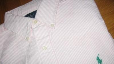 Koszula firmowa Ralph Lauren Classic Fit USA M BIAŁO- RÓŻOWA