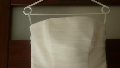 Krótka ecru suknia ślubna