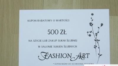 KUPON 500 Zł na zakup/szycie sukni ślubnej Poznań