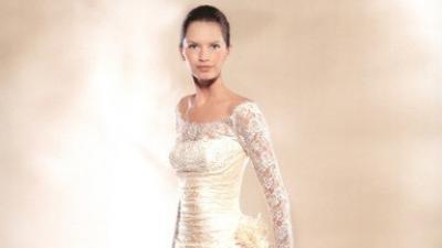 La SPOSA model GALATEA cudna jednoczęściowa koronkowa  suknia w kolorze ecru