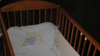 łóżeczko Drewex+materac+ochraniacz+pościel Feretii