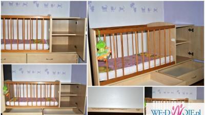 łóżeczko dziecięce z szufladami z szafką + materac GRATIS + pluszaki GRATIS